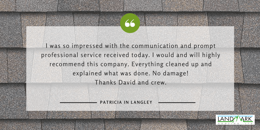Langley roofing testimonial for Landmark Roofing from Patricia.